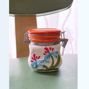 Vintage 70s ceramic flower power spice jar